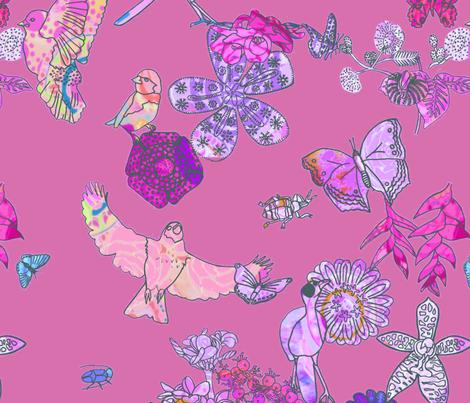 Ghana Fantastic Floral Pink Grande fabric by bloomingwyldeiris on Spoonflower - custom fabric