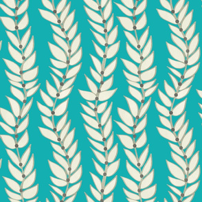 Leaf Dot Stripe Teal Vertical