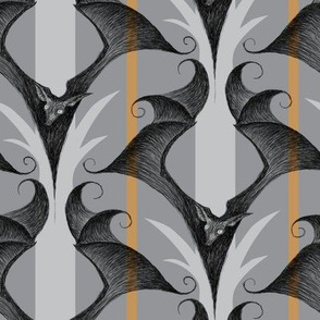 Stripes and Bats - gray/orange