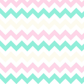 Off-White, Pink, and Mint Chevron Stripes