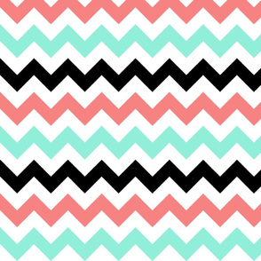 Peach, Mint, and Black Chevron Stripes