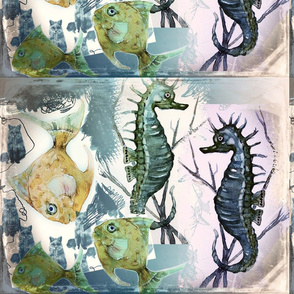 Seahorses and fishes
