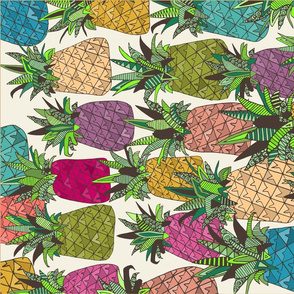 West Coast pineapples tea towel