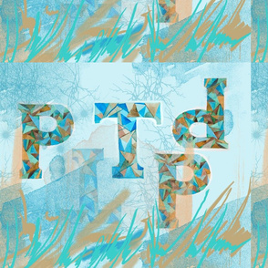 Letters in turquoise and ochre