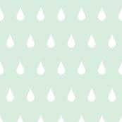 Raindrops white on mint