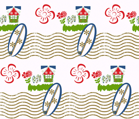 Surfing Waves-retro beach fabric by drapestudio on Spoonflower - custom fabric
