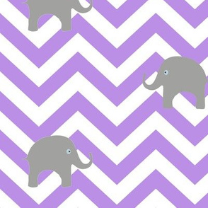 Baby Elephants on Purple Chevron