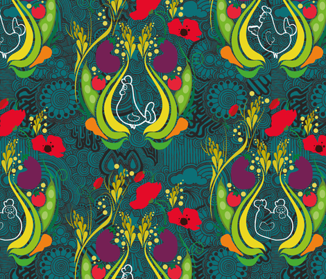 Oh yeah chicken - dark hard blue fabric by fanny-bonenfant on Spoonflower - custom fabric