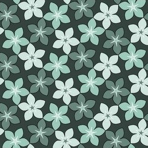 pastel cyan-teal blossoms