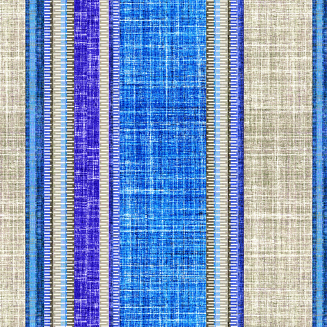 Sapphire faux linen on gray stripe fabric by joanmclemore on Spoonflower - custom fabric