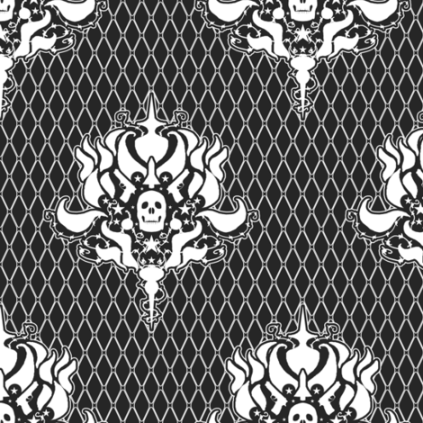 Skull Damask fabric by amber_morgan on Spoonflower - custom fabric