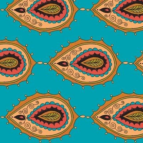 Turquoise peacock paisley