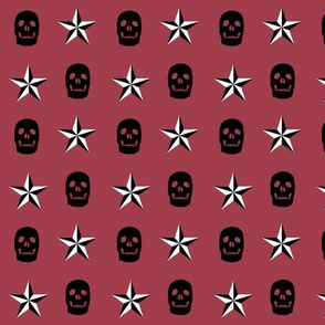 Skulls and Stars Maroon