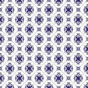 Elegant Royal Blue & Grey Medallion Pattern