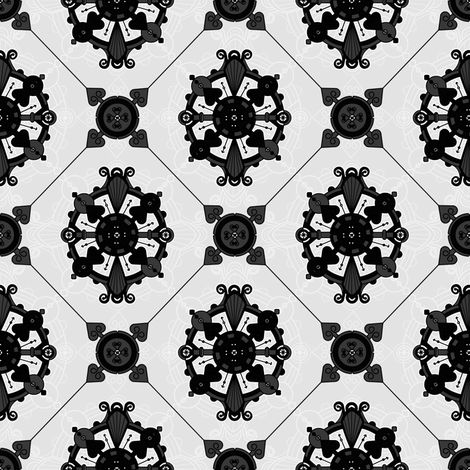 Elegant Royal Black and Grey Medallion Pattern  fabric by jannasalak on Spoonflower - custom fabric
