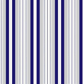 Elegant Royal Blue & Grey Dotted Stripe