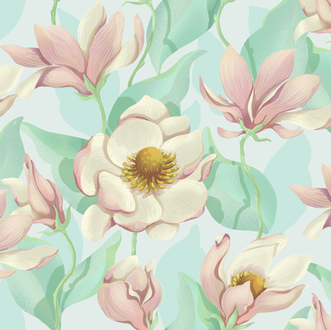 Magnolia Bloom - soft version fabric by celandine on Spoonflower - custom fabric