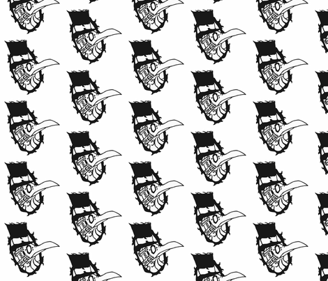 "Plague Doctor black and white 7.95"" fabric by astral_thread on Spoonflower - custom fabric"