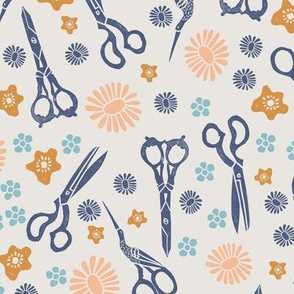 scissors // linocut block print andrea lauren crafty sewings fabric