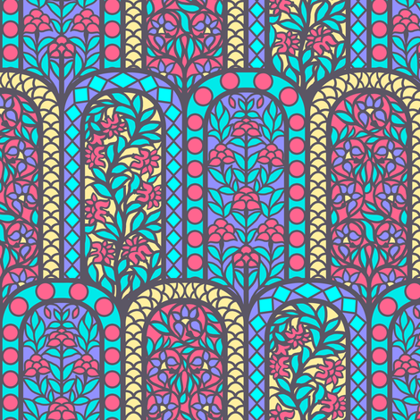 Pastel India Floral Stained Glass Window Scales fabric by ninniku on Spoonflower - custom fabric