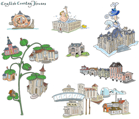 country houses fabric by margreetdeheer on Spoonflower - custom fabric