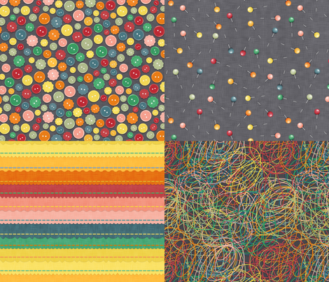 Buttons, thread and pins fabric by dinorahdesign on Spoonflower - custom fabric