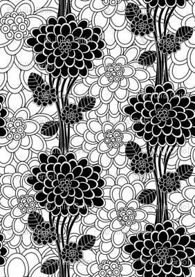 Flowered tree in black and white