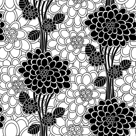 Flowered tree in black and white fabric by juliagrifol on Spoonflower - custom fabric