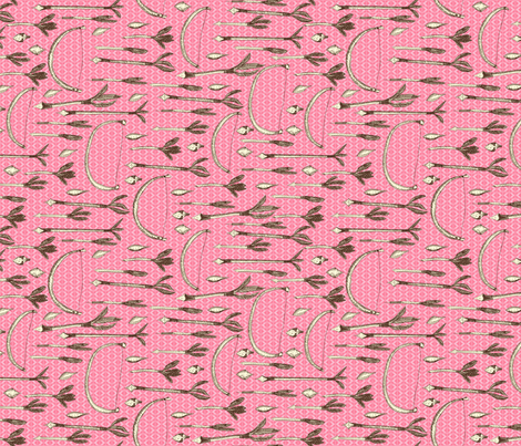 A Girl's Own Archery Set - Textured Light on Dark Pink with Cream fabric by rhondadesigns on Spoonflower - custom fabric
