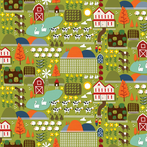 farm fabric by laurawrightstudio on Spoonflower - custom fabric