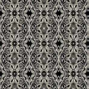 Black Paisley Hexagon Diamond Tiles