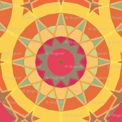 Cheerful Yellow Kaleidoscope Suns