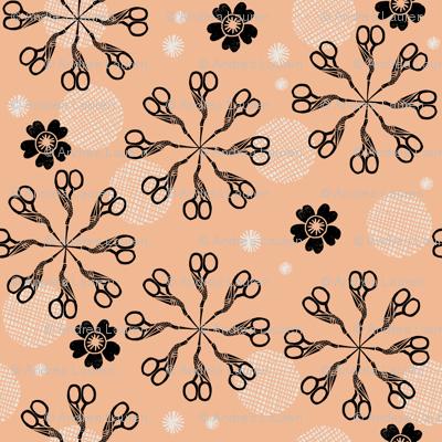 scissor birds // florals linocut block print sewing notions crafty fabric andrea lauren