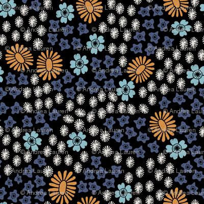 florals // daisy floral linocut flowers andrea lauren fabric