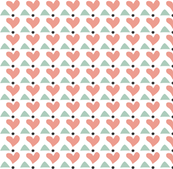 Heart & Triangle in Mint and Peach