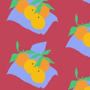 Picnic Chic Oranges on Cranberry