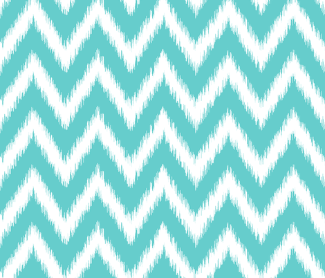 Turquoise and White Ikat Chevron fabric by sweetzoeshop on Spoonflower - custom fabric