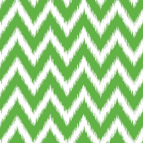 Kelly Green and White Ikat Chevron