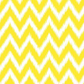 Yellow and White Ikat Chevron