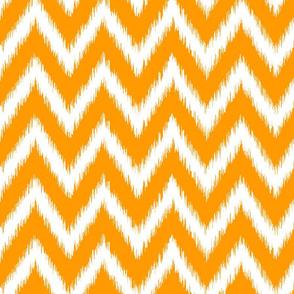 Orange and White Ikat Chevron