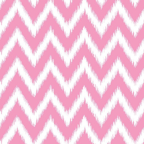 Bubblegum Pink and White Ikat Chevron