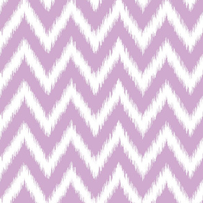 Lilac Purple and White Ikat Chevron