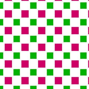 Uneven Square Spots    -Green and Dark Magenta on White