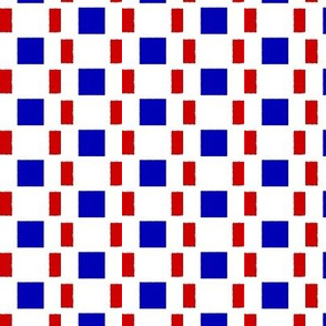 Uneven Broken Stripes   -Red and Blue on White