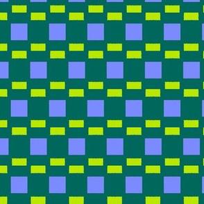 Uneven Broken Stripes 2   -Lavender and Lime on Dark Green