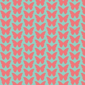 butterfly in coral and aqua mint