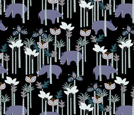 Rhino Jungle fabric by daughter_earth on Spoonflower - custom fabric