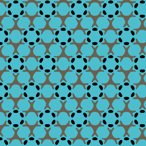 16jun14#4   -Taupe and Black on Turquoise fabric by fireflower on Spoonflower - custom fabric