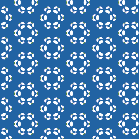 16jun14#5    -White and Green on Blue fabric by fireflower on Spoonflower - custom fabric