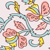 flower garden - lite pink blue yellow pink